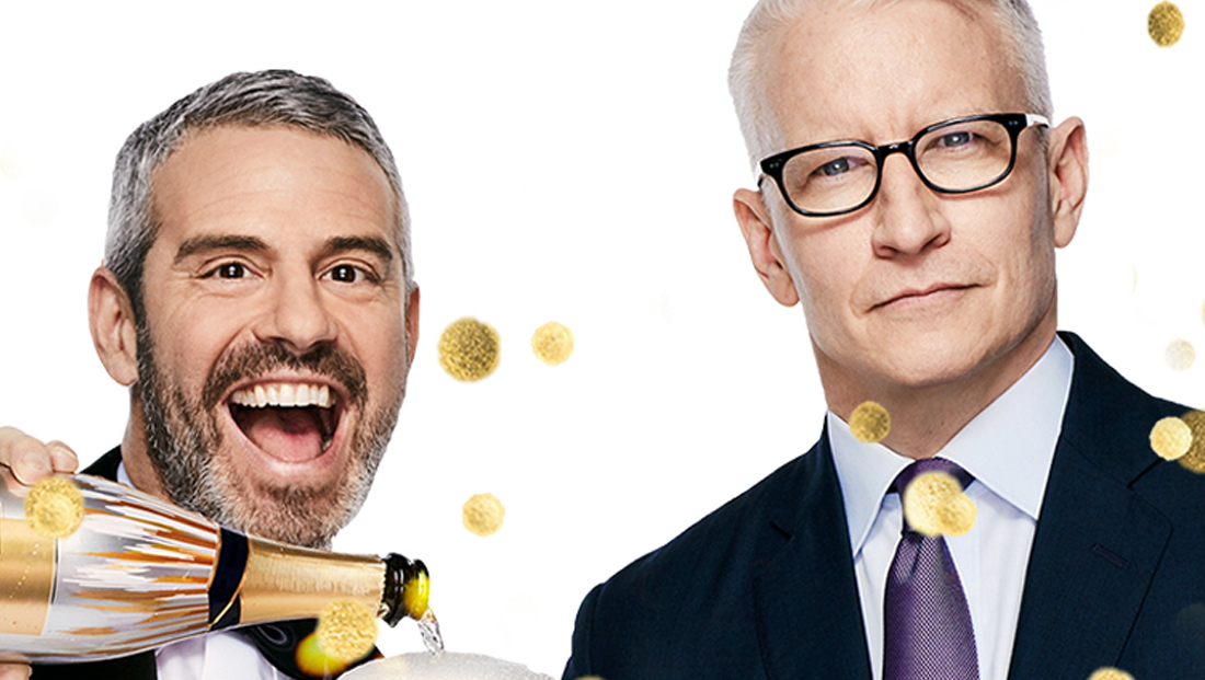 Watch Anderson Cooper and Andy Cohen's musical themed promo for NYE coverage