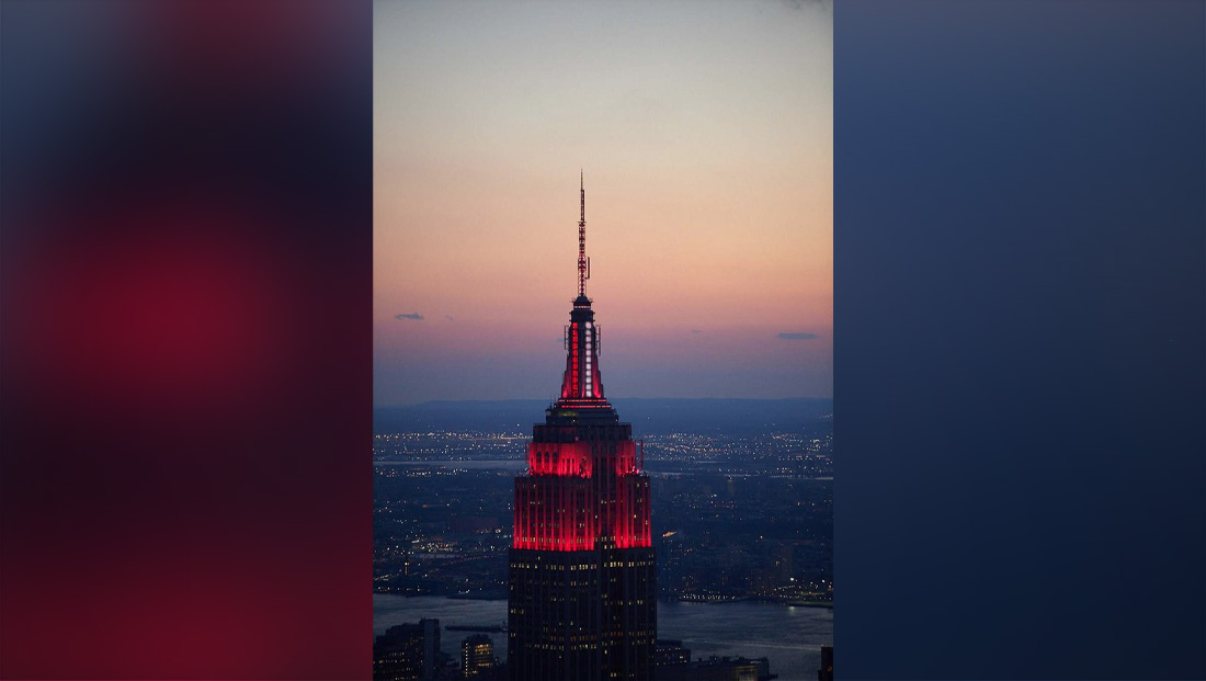 Empire State Building debuts flashing red and white 'siren' light to honor health care workers