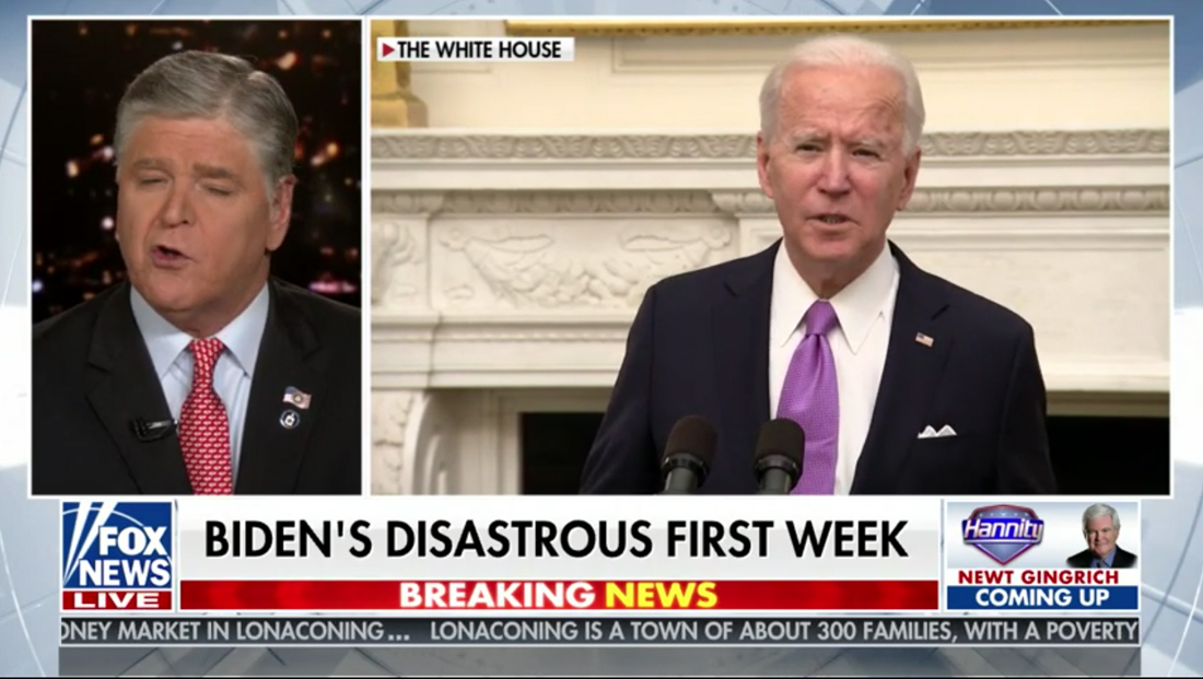 Fox banner proclaims Biden's 'disastrous' first week — one full day into term