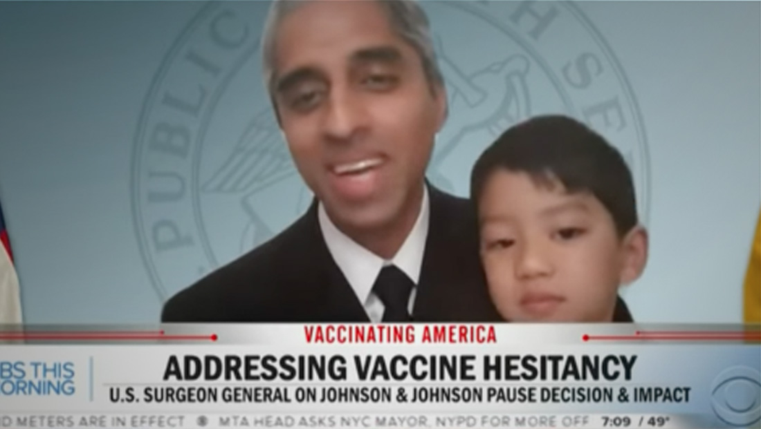 Watch: U.S. Surgeon General's son crashes his live interview on CBS