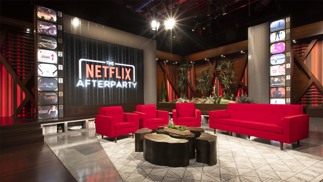 'Netflix Afterparty' set blends elements of streamer's branding, mid-century feel